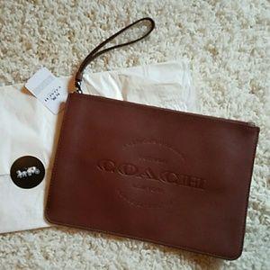 New COACH Hudson Leather wristlet pouch